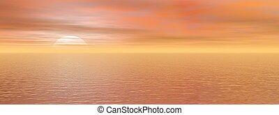 美しい, -, レンダリング, 日没, 海, 3d