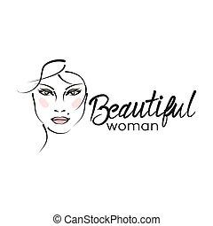 美しい, ロゴ, 女, 現代