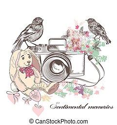美しい, ロマンチック, カード, ∥で∥, 古い, カメラ, 鳥, 花, そして, おもちゃ, うさぎ, 中に, 型,...