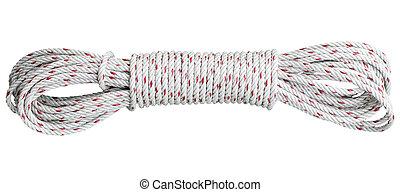 美しい, ロープ, 白, 隔離された, コイル