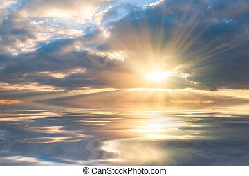 美しい, 上に, 日の出, 海