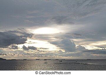美しい, 上に, 日没, 海