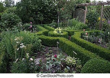 美しい, 両掛け, ツゲ, コテッジの 庭