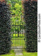 美しい, 両掛け, 古い, 庭の ゲート