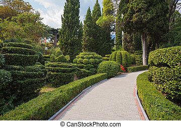 美しい, 両掛け, 庭