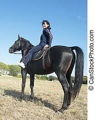 美しい, 乗馬, 女の子