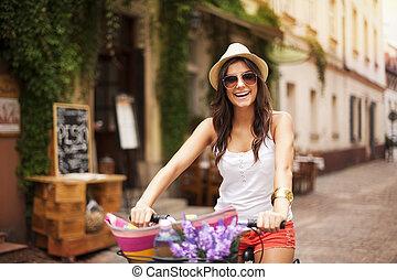 美しい, 乗馬, 女, 自転車