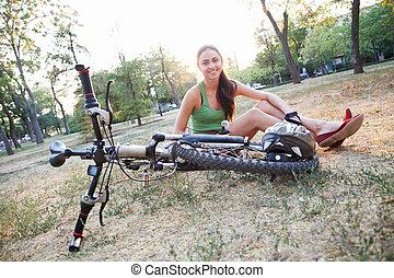 美しい, 乗馬, 女, 自転車, 若い