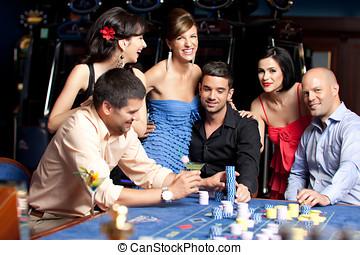 美しい, 人々, カジノ, 若い, 楽しみ, 持つこと