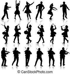 美しい, 人を配置する, illustration., womans., バイオリン奏者, バックグラウンド。, シルエット, ベクトル, 黒, ドラマー, 白, 曲芸師