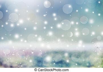 美しい, 休日, マジック, 光沢がある, 抽象的, どうか, bokeh., ライト, クリスマス, 背景, 白熱, ...