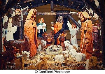 美しい, 伝統的である, キリスト教徒, 赤ん坊, 現場, jesus., holidays., クリスマス, 背景, nativity