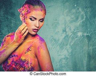 美しい, 体, 女, 芸術, 若い, 概念, カラフルである