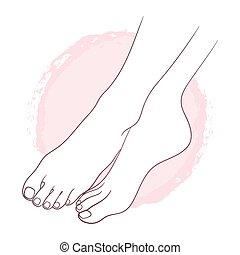 美しい, 体, feet., 女性, 心配