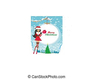 美しい, 促される, ピン, 衣装, 女の子, クリスマス