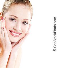 美しい, 健康な女性, 皮膚