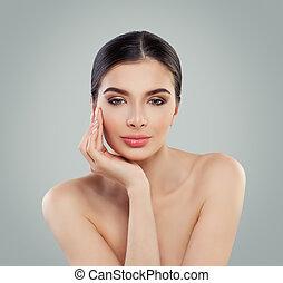 美しい, 健康, 若い, 女性, 皮膚, モデル, woman.