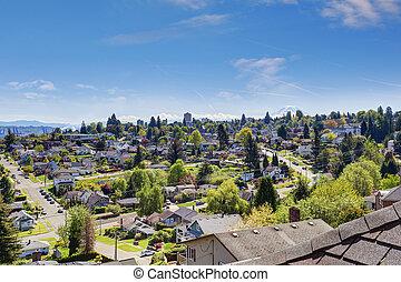 美しい, 光景, の, アメリカの市, 中に, ワシントン州, usa.