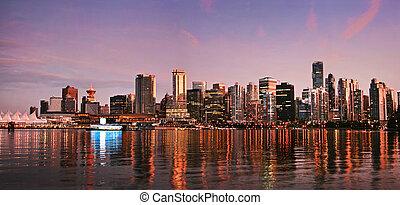 美しい, 光景, の, バンクーバーのスカイライン, ∥において∥, 日没