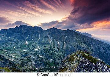 美しい, 光景, の, 山の景色, 中に, 国立公園, 高く, tatra., 劇的, 曇っている, sky.,...