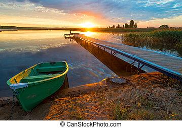 美しい, 光線, 木製である, 太陽, -, 設定, 風景, 田園, 桟橋, ボート