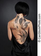 美しい, 入れ墨, tattoo., 若い, 背中, 毛, 黒い背景, 暗い, 女の子, 女性