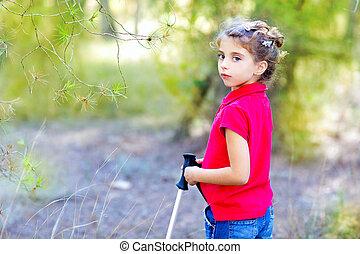 美しい, 公園の森林, 移住, 女の子, 子供