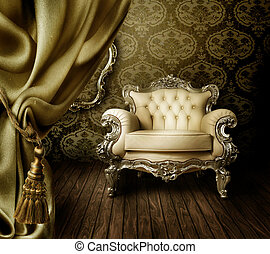 美しい, 内部, 古い, スタイルを作られる