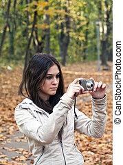 美しい, 写真, 取得, カメラ, 女の子