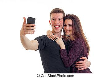 美しい, 写真, 恋人, 若い, 電話, 微笑, 作り, あなたの