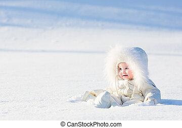美しい, 冬, モデル, 非常に, 日当たりが良い, 雪分野, スーツ, 赤ん坊, 白, 日