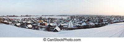 美しい, 冬, 田園, 景色。, 太陽, weather.