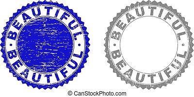 美しい, 切手, textured, グランジ, シール
