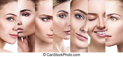美しい, 別, コラージュ, 女性顔, 完全, skin.