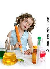 美しい, 化学, 女の子, 遊び, 中に, 実験室