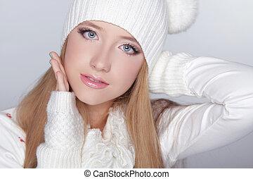 美しい, 十代, 冬, 面白い, 身に着けていること, 隔離された, 灰色, 背景, hat., 女の子, 衣類, 白