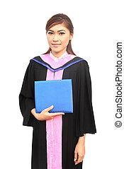 美しい, 卒業, 女の子, 保有物, 彼女, 卒業証書