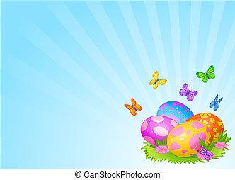 美しい, 卵, イースター, 背景