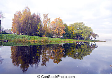 美しい, 反映しなさい, 湖, 木, 秋, water.