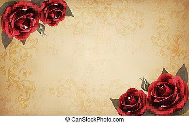 美しい, 古い, バラ, paper., イラスト, ベクトル, レトロ, 背景, 赤