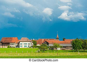 美しい, 古い, 風景, 村