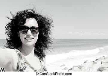 美しい, 古い, instagram, selfie, filter., 35, 年, 肖像画, woman.