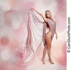 美しい, 吹く, 飛行, fairy., ブロンド, 女の子, 服