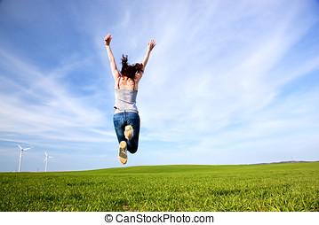 美しい, 喜び, 女, 若い, 跳躍