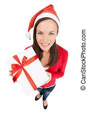美しい, 地位, 女, santa, 贈り物, 若い, 上, 隔離された, gift., 間, 箱, 保有物, 白い帽子, クリスマス, 光景