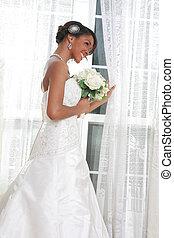 美しい, 地位, 窓, 若い, 花嫁