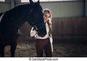 美しい, 地位, 馬, 彼女, 若い, 競争, ユニフォーム, 優雅である, ドレッシング, ブロンド, 女の子