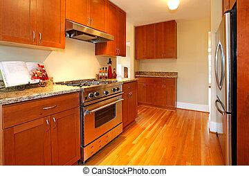 美しい, 堅材, 台所, 新しい, さくらんぼ
