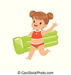 美しい, 夏, わずかしか, 屋外, 浜, 膨らませることができる, イラスト, 水着, マットレス, 動くこと, ベクトル, 緑, 休暇, 活動, 幼児, 女の子, 子供, 遊び, 赤, 幸せ