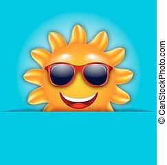 美しい, 夏, 太陽, サングラス, カード, 涼しい